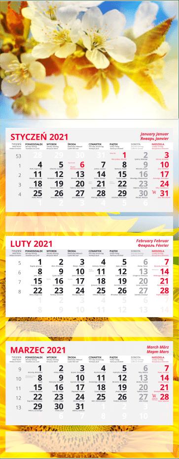 kalendarz trójdzielny z płaską główką 2021